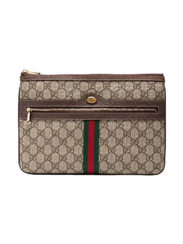 7c0477e7766e Gucci Ophidia Large Gg Supreme Pouch Clutch Bag In Brown | ModeSens