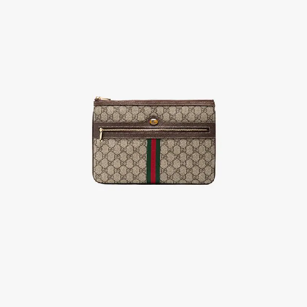 961df1bf747 Gucci Ophidia Large Gg Supreme Pouch Clutch Bag In Brown