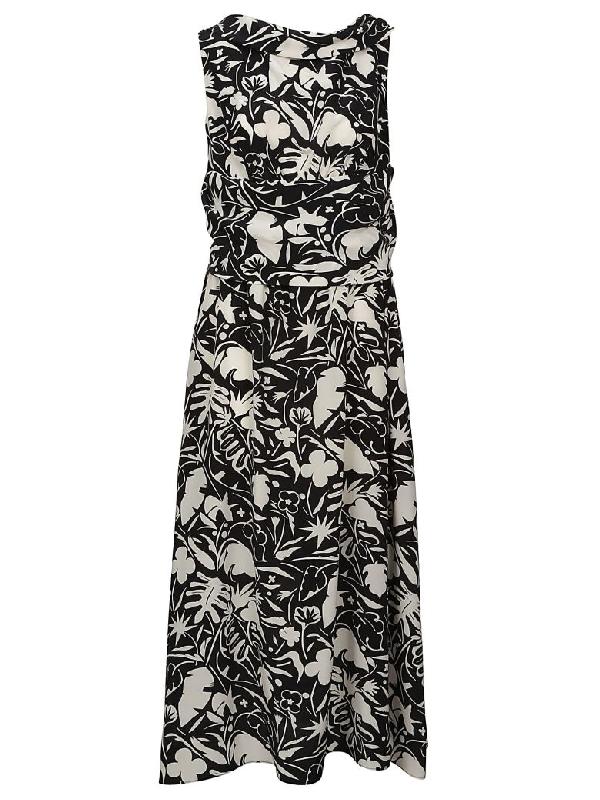 Aspesi Floral Dress In Black-white
