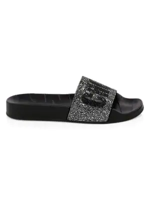 527831c80f9a Jimmy Choo Women s Rey Crystal Embellished Logo Slide Sandals In Black