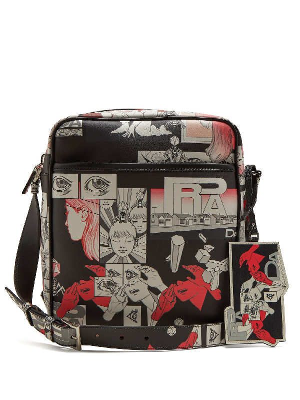 eec13973c9fea4 Prada Comic-Strip Print Leather Messenger Bag In Black Multi | ModeSens