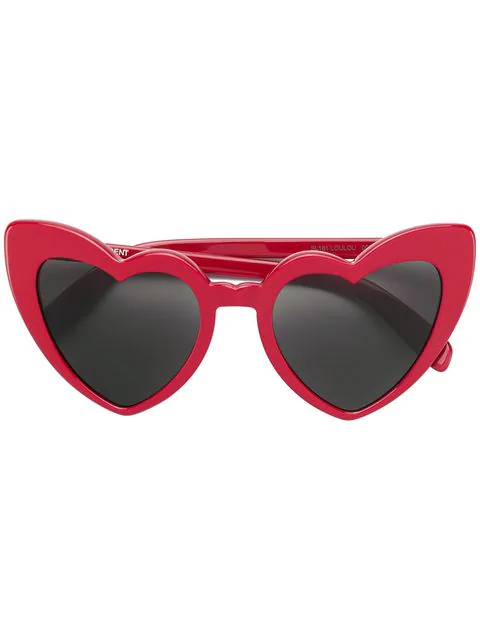Saint Laurent New Wave 181 Loulou Sunglasses In Shiny Red Acetate With Grey Nylon Lenses In 002 Red