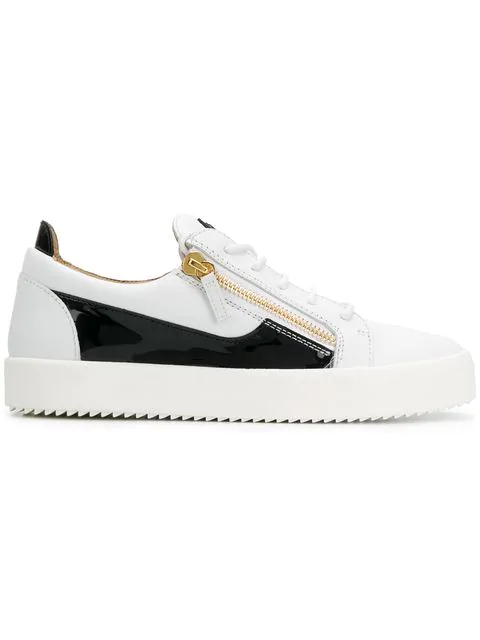 ce362acb0f4fa Giuseppe Zanotti - Leather Low-Top Sneaker With Black Patent Leather Insert  Frankie In White. Farfetch. 399Login to see price