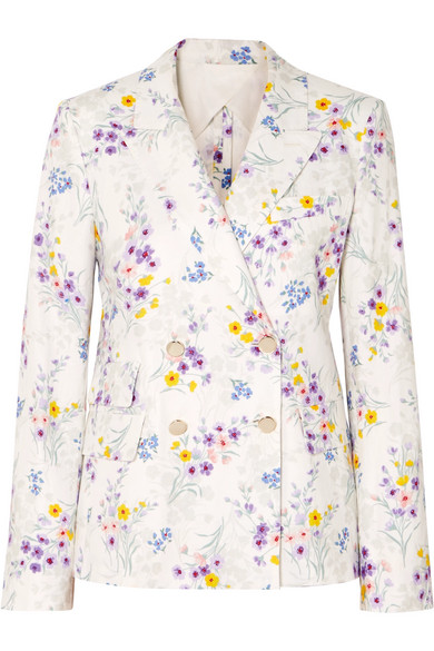 Max Mara Double-breasted Floral-print Linen Blazer In White