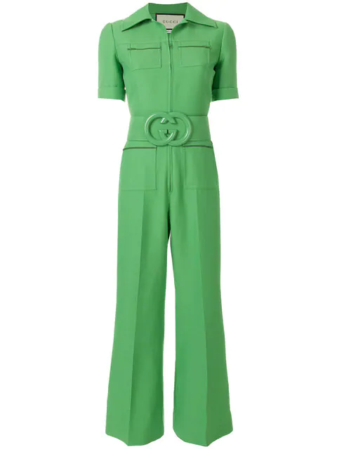 2634bb8cfa1 Gucci Short-Sleeve Cady Crepe Wool-Silk Jumpsuit W/ Front Pocket In Green