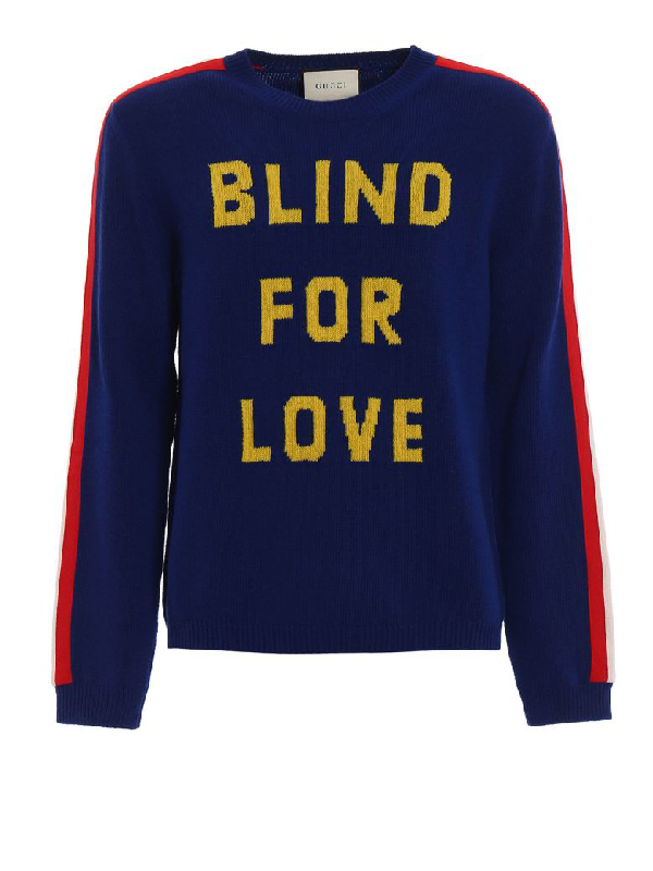 f291a5b9671a Gucci Blind For Love And Tiger Wool Sweater In Blue | ModeSens