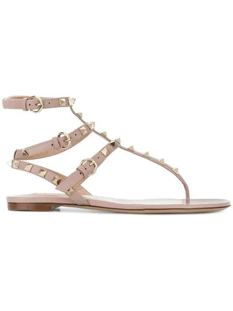 Valentino Garavani Rockstud Flat Flip-flop Sandal In Neutrals