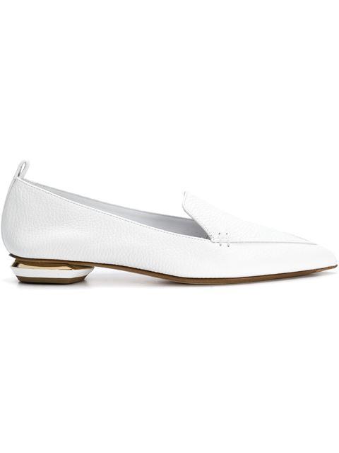 Nicholas Kirkwood 'beya Bottalato' Metal Heel Leather Skimmer Loafers In White