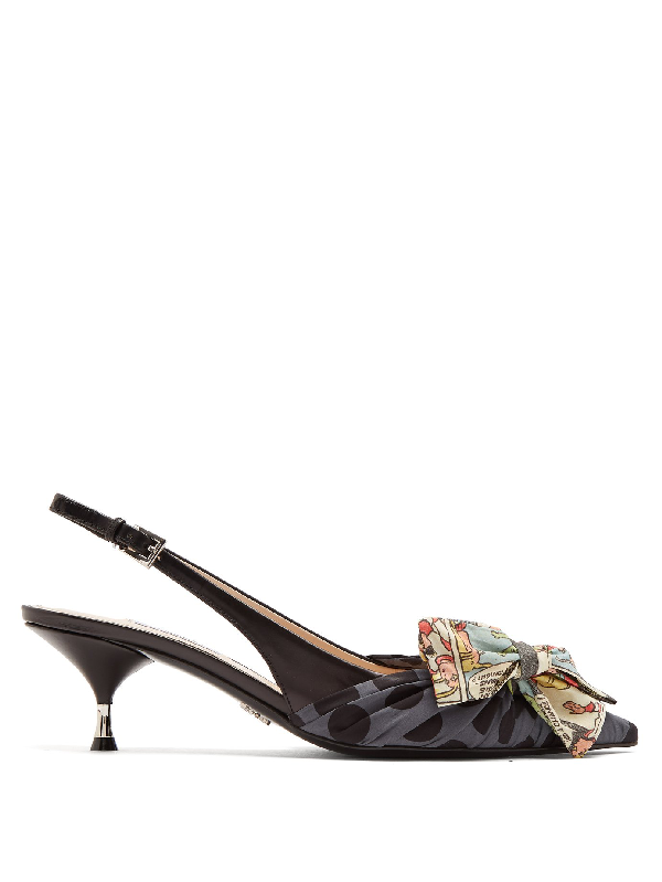 fd9595ee1400 Prada Bow-Embellished Leather And Printed Canvas Slingback Pumps In F0G22  Black