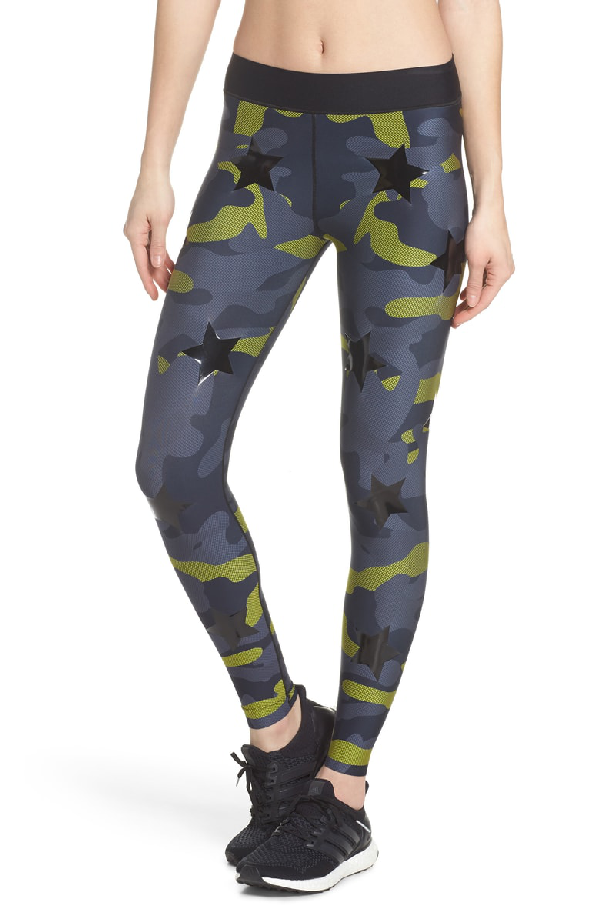 65c663bfa7d151 Ultracor Camo Tech Knockout Leggings In Chartreuse/ Patent Nero ...
