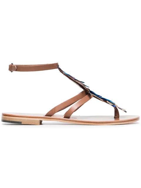Álvaro González Álvaro Blue Ariana 15 Feather And Leather Sandals