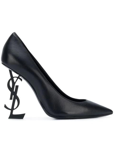 Saint Laurent Opyum 110 Logo Heel Pumps In Black