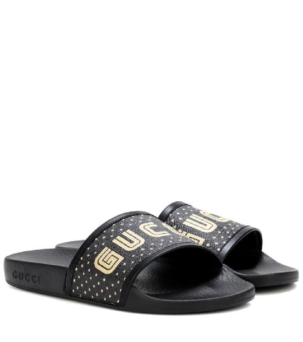 c5df4c0da90a Gucci Women s Pursuit Star Print Pool Slide Sandals In Black