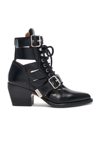 ChloÉ Chloe Rylee Leather Lace Up Buckle Boots In Black
