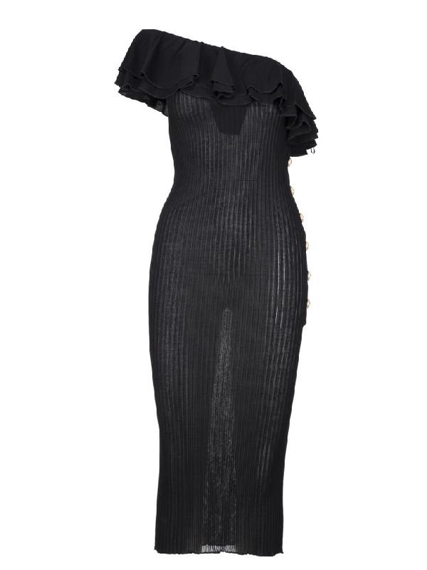 3be19fd5 Balmain Ruffled One-Shoulder Ribbed-Knit Midi Dress In Black | ModeSens