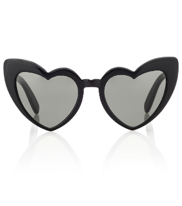 Saint Laurent Loulou 54Mm Heart Sunglasses - Black/ Grey In 001 Black