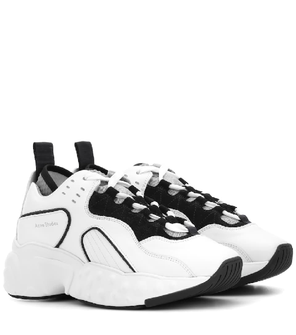 Acne Studios Low-top Sneakers Manhattan Calfskin Logo White In Multi White