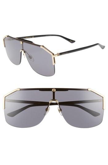34e41ad5b4f47 Gucci Gg0291S Rectangular-Frame Gold Metal Sunglasses In Grey