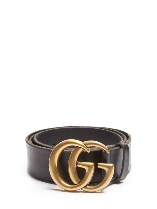 869677942a25 Gucci Reversible Leather Belt With Double G Buckle In 1000 Black ...