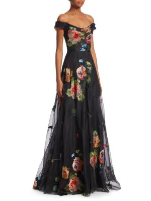 40a88aa07f Marchesa Notte Off-The-Shoulder Embroidered Silk Organza Ball Gown In Black