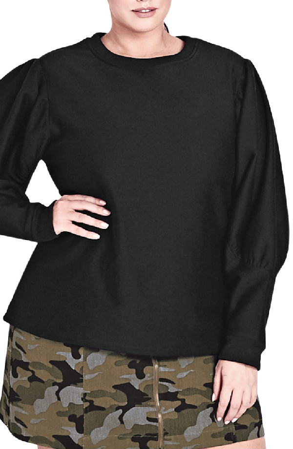 1f2a021c87166 City Chic Trendy Plus Size Puff-Sleeve Sweatshirt In Black | ModeSens