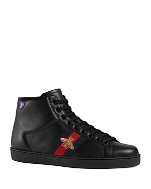 38b654c20 Gucci New Ace Bee Embroidered High Top Sneakers In Black   ModeSens