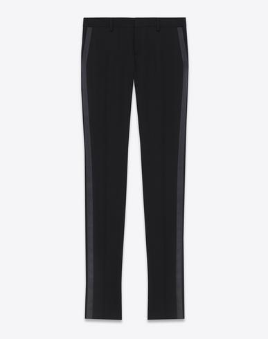 dde855fa7a0 Saint Laurent Iconic Le Smoking Tube Trouser In Black Grain De Poudre  Textured Virgin Wool