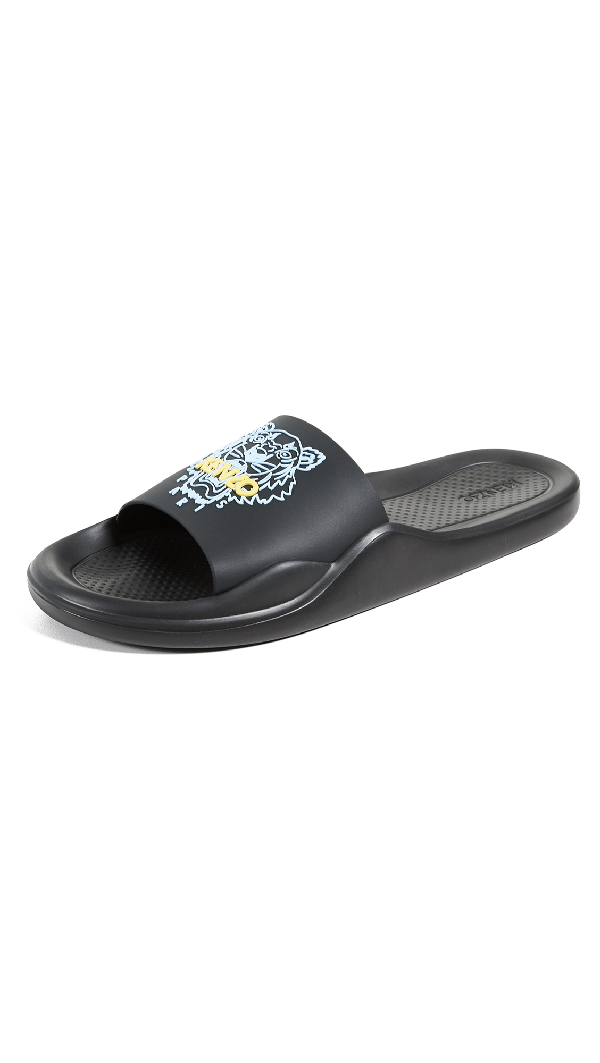 c78956c0 Kenzo Black Men's Pool Sandals W/Tiger Logo In 99.Black | ModeSens