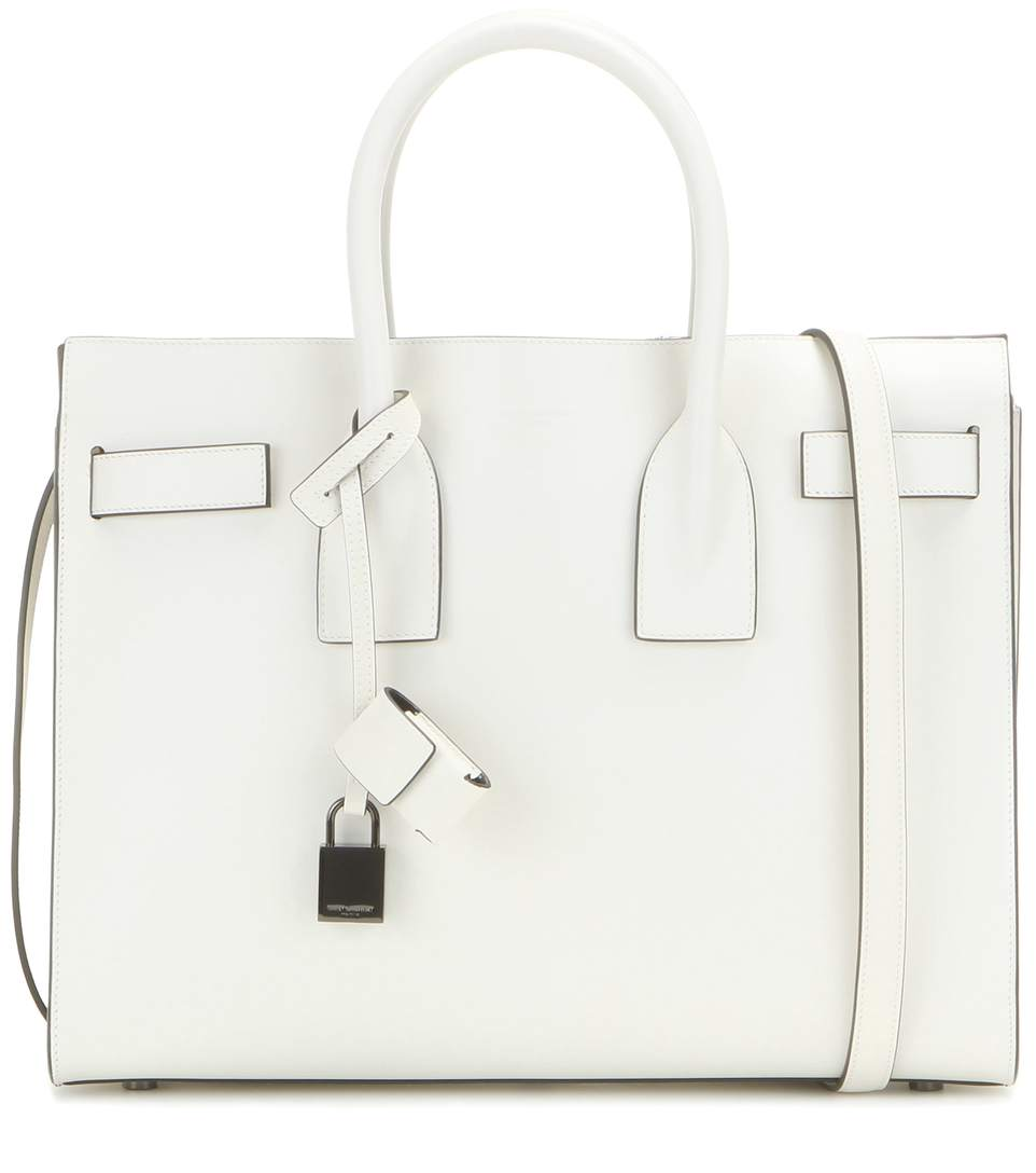 Saint Laurent Classic Small Sac De Jour Bag In Dove White And Black Leather