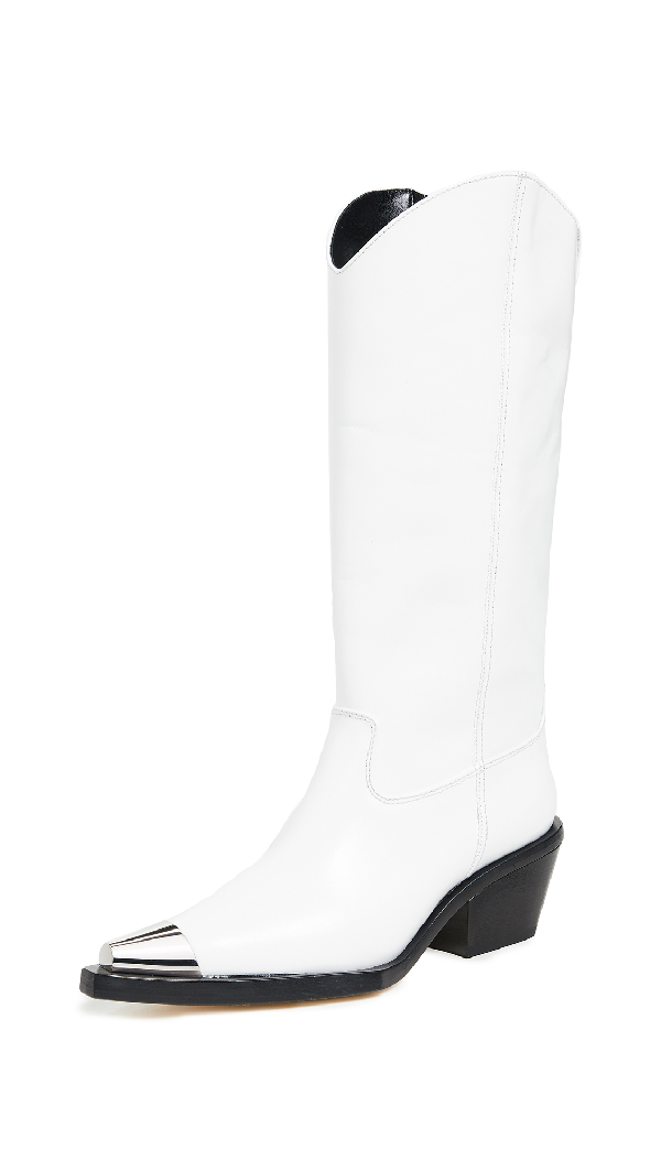Helmut Lang Tall Cowboy Boots In White