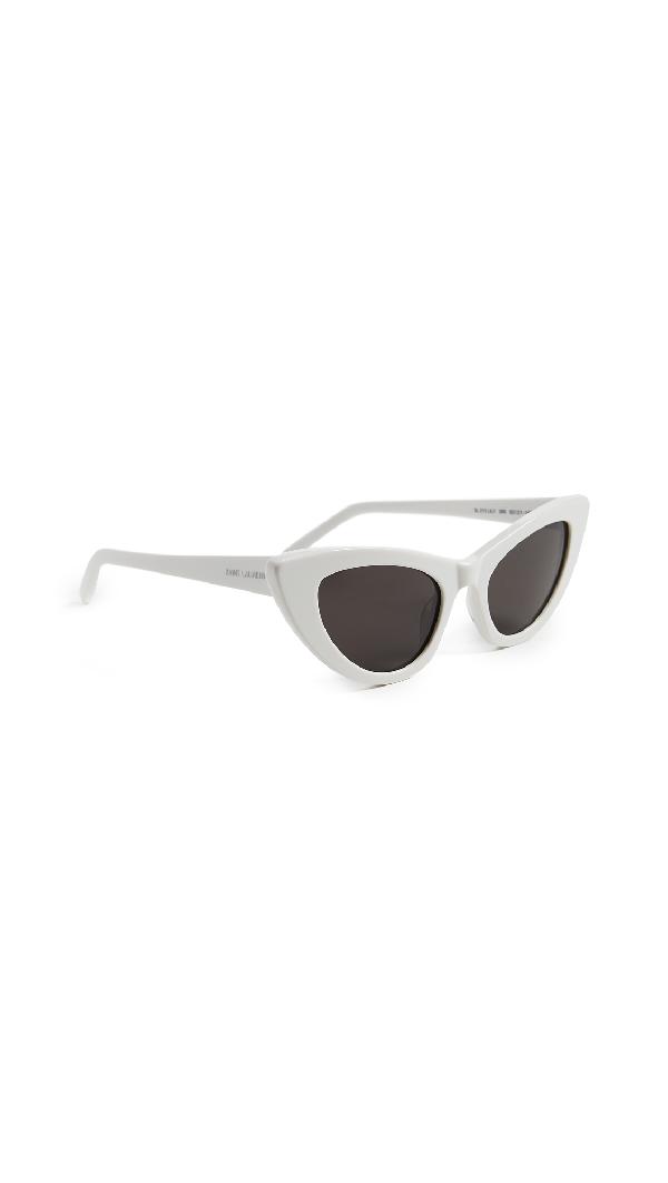 Saint Laurent Lily Cat-Eye Acetate Sunglasses, Ivory In 005