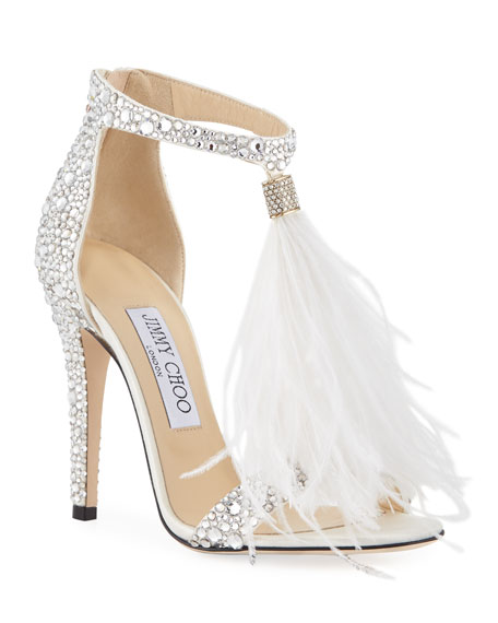 97227cd9b Jimmy Choo Viola 110 White Suede And Hot Fix Crystal Embellished Sandals  With An Ostrich Feather