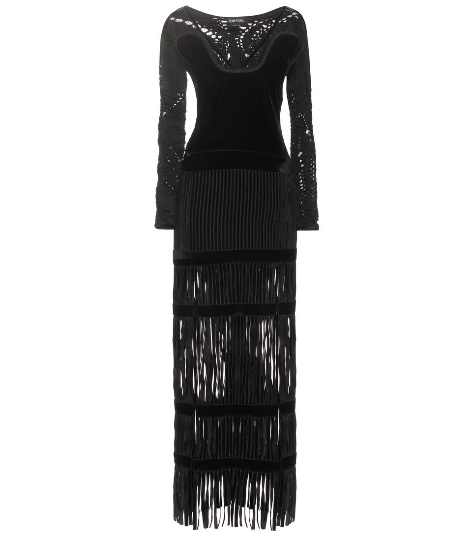 Tom Ford Fringed Lace And Velvet Gown In Llack