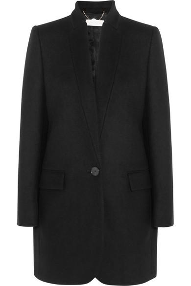 Stella Mccartney Bryce Melton Wool-blend Coat In Llack