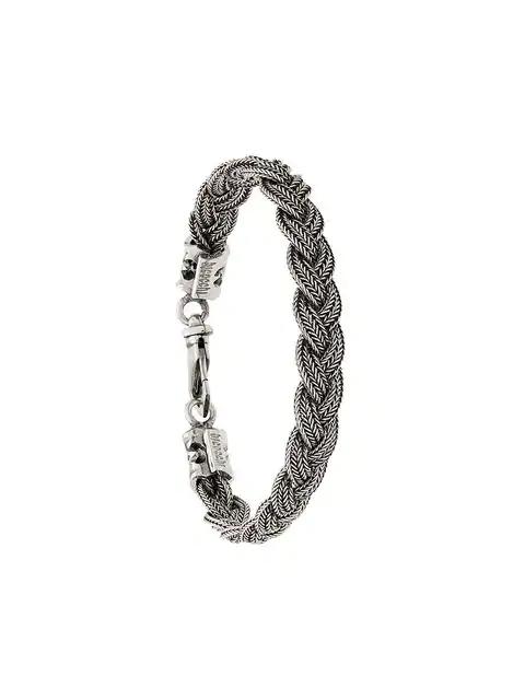 Emanuele Bicocchi Flat Braided Chain Bracelet In Metallic