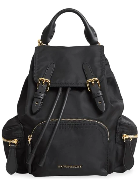 Burberry Prorsum Small Leather-Trim Nylon Rucksack Backpack In Black