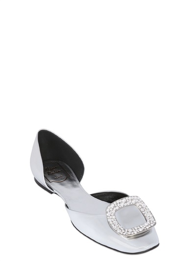 Roger Vivier 10mm Chips Swarovski Leather Flats, Silver