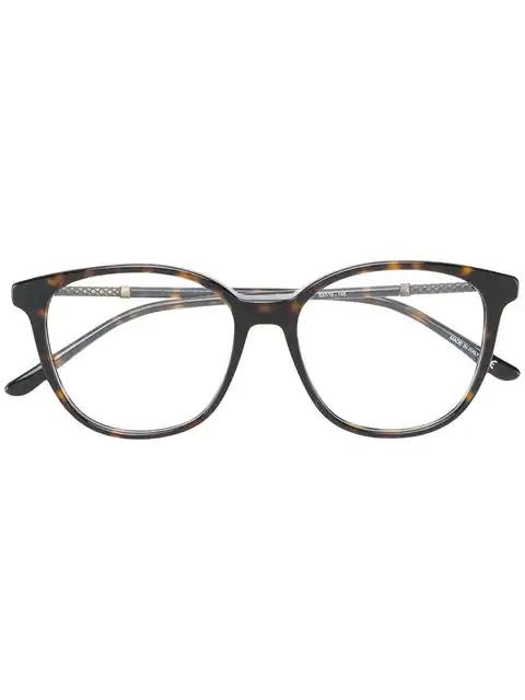 Bottega Veneta Square Frame Glasses In Brown