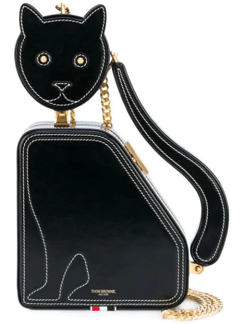 Cat Icon Calfskin Clutch Bag In Black by Thom Browne