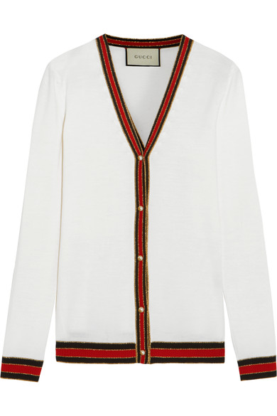 Gucci Striped Wool Blend-trimmed Wool Cardigan In Ivory