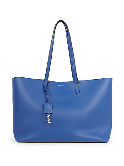 Saint Laurent Large Leather Shopping Tote In Blue