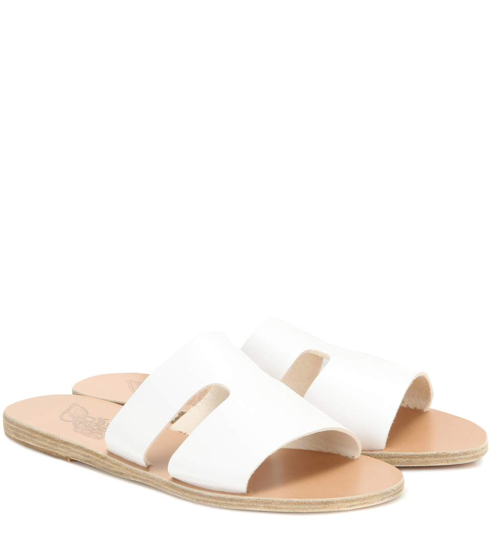 03137a7bb07 Ancient Greek Sandals Apteros Cutout Leather Slide Sandals In White ...