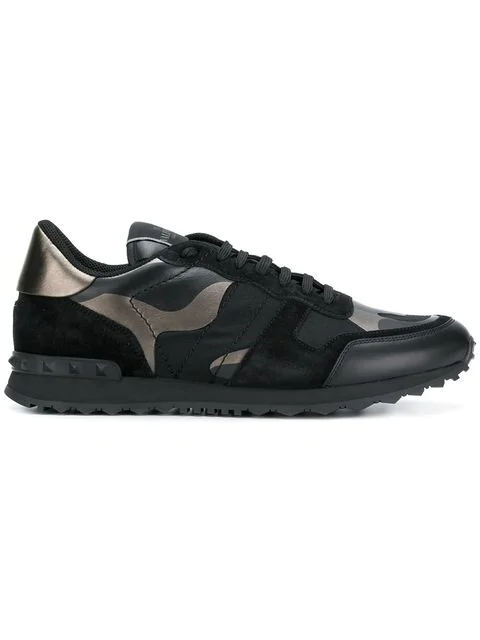 Valentino Men's Rockrunner Camo Leather Sneakers In E43 Black/ Ruthenium