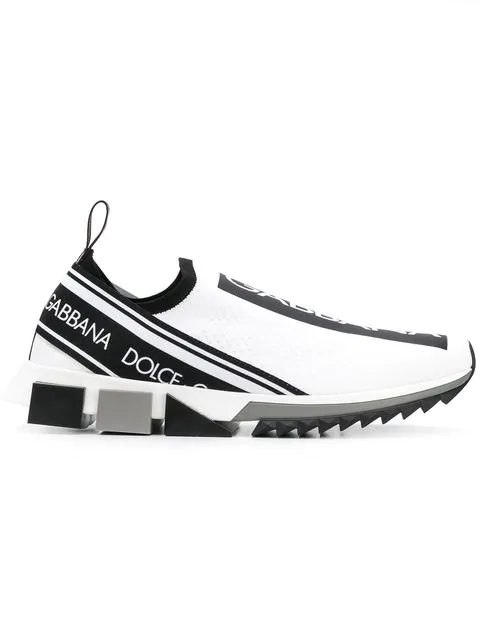 Dolce & Gabbana Dolce E Gabbana White Polyester Slip On Sneakers