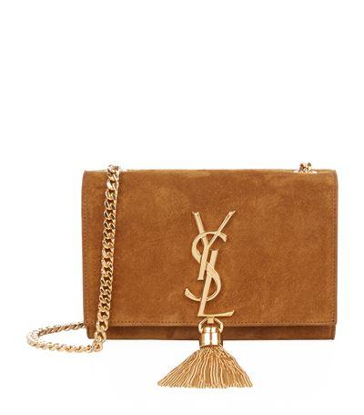 67cbecced6 Saint Laurent Monogram Small Suede Tassel Crossbody Bag