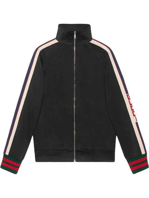Gucci Webbing-trimmed Tech-jersey Track Jacket - Black