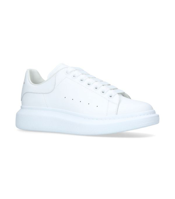 Alexander Mcqueen Glow-in-the-dark Exaggerated-sole Rubber-trimmed Leather Sneakers In White