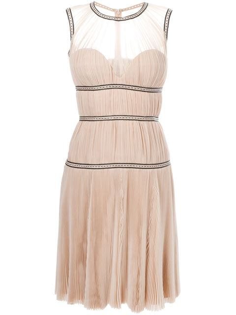 Alexander Mcqueen PlissÉ And Leather Sleeveless Dress In Pale-pink