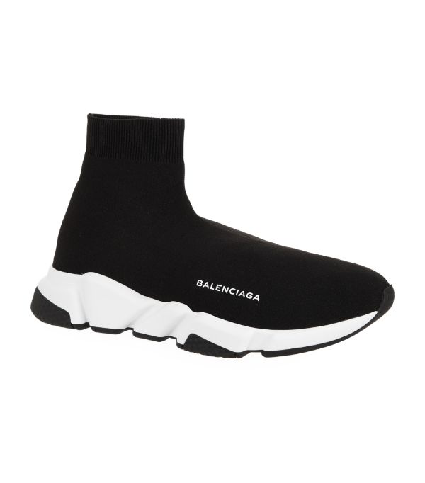 Balenciaga Black And White Speed Light Clear Sole Sneakers