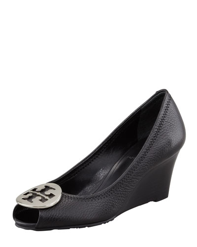 Tory Burch Sally 2 Leather Wedge Pump, Black/silver